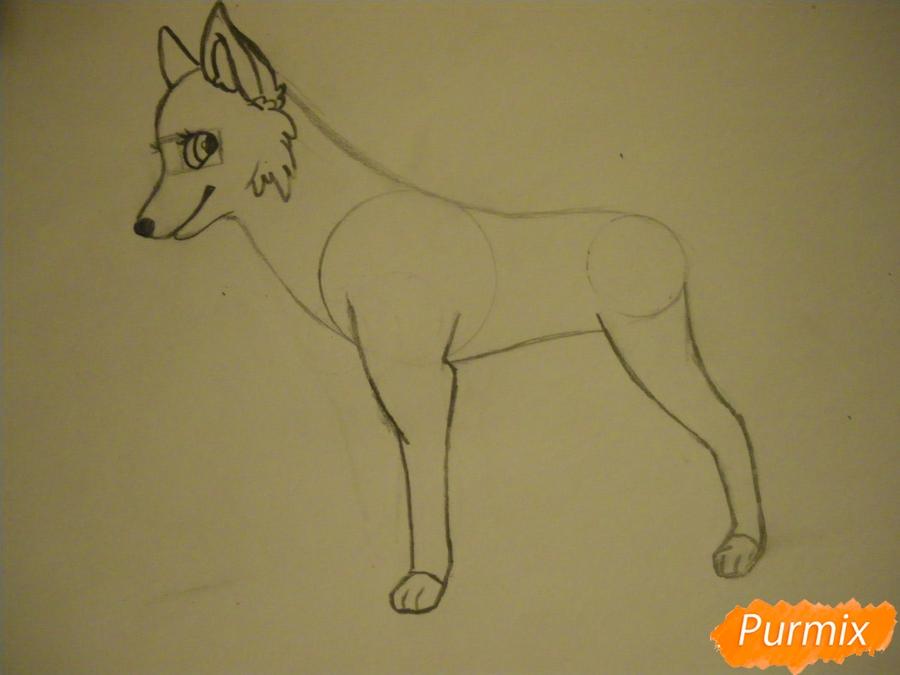 Рисуем аниме собаку с зелёными глазами - шаг 5
