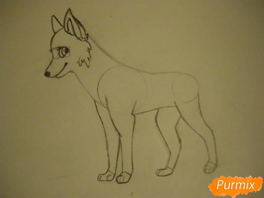 Рисуем аниме собаку с зелёными глазами - шаг 6