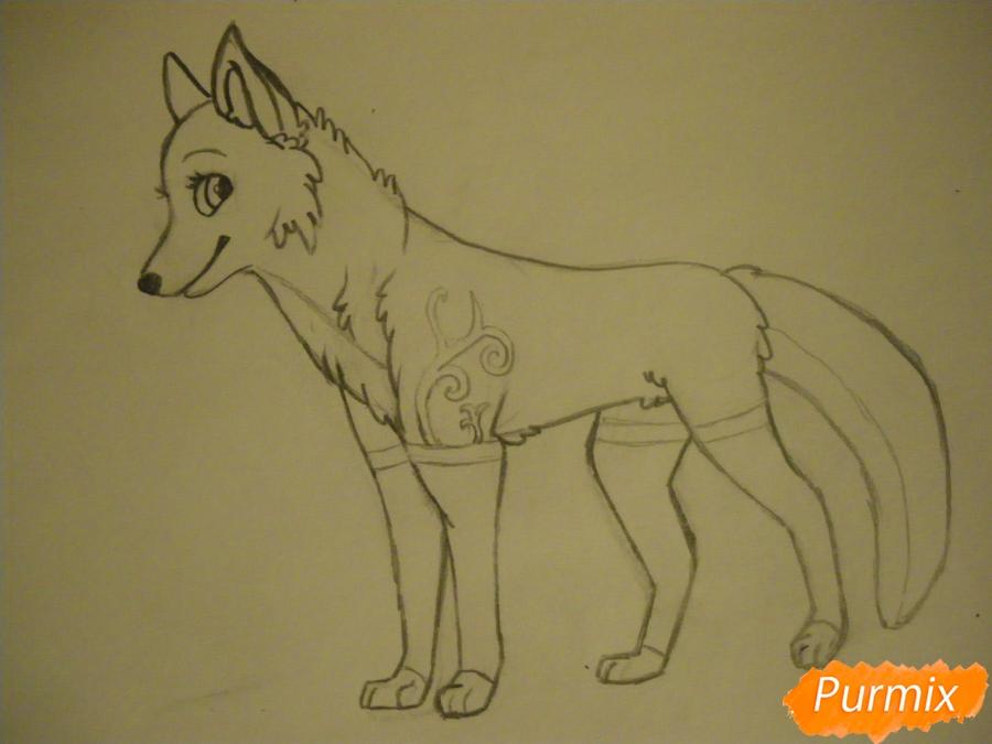 Рисуем аниме собаку с зелёными глазами - фото 7