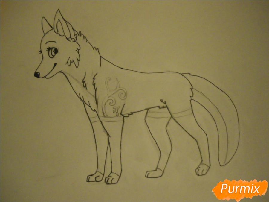 Рисуем аниме собаку с зелёными глазами - фото 8