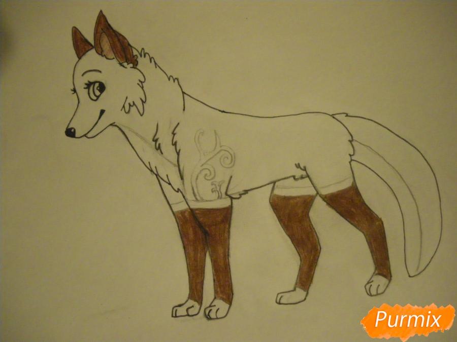 Рисуем аниме собаку с зелёными глазами - фото 9