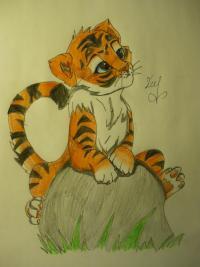 аниме тигра карандашом