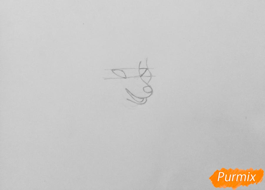 Рисуем аниме волчицу Kiiyuko - шаг 1