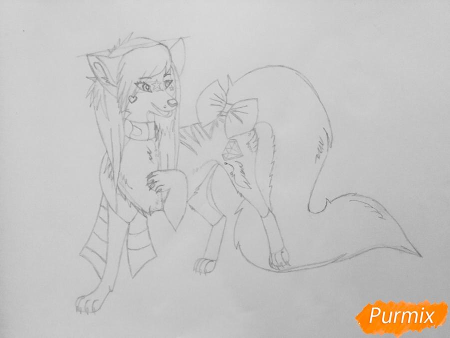 Рисуем аниме волчицу Kiiyuko - шаг 7