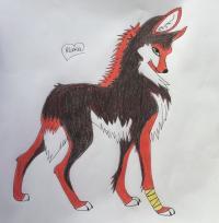 Рисунок красную аниме волчицу