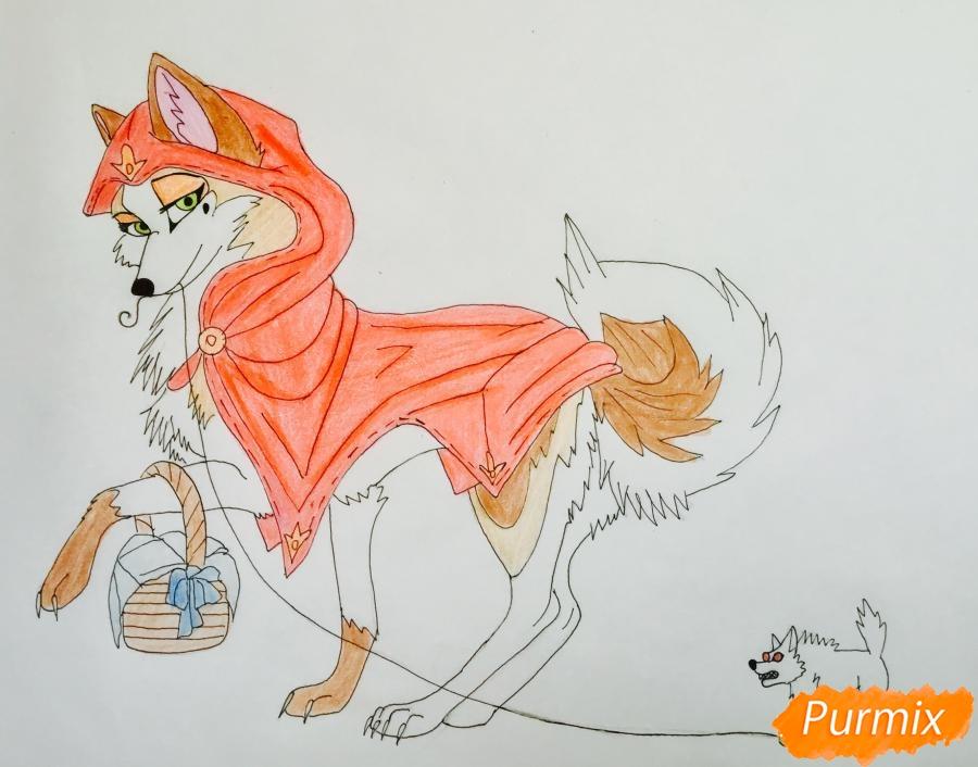 Рисуем аниме волчицу с игрушкой в стиле красной шапочки - шаг 10