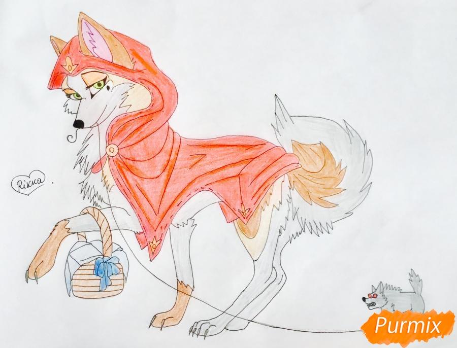 Рисуем аниме волчицу с игрушкой в стиле красной шапочки - шаг 11