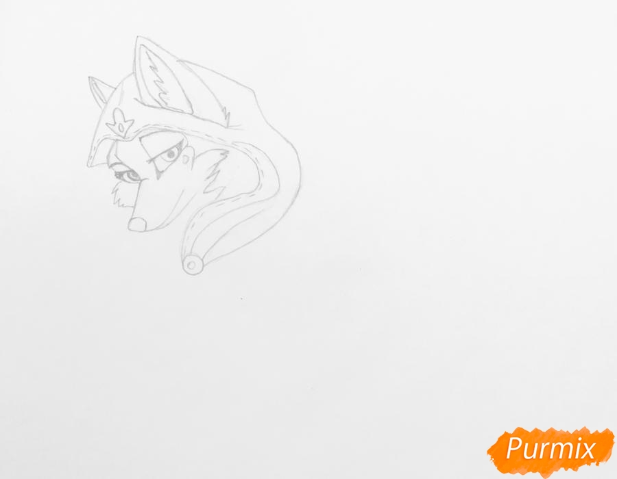 Рисуем аниме волчицу с игрушкой в стиле красной шапочки - шаг 3