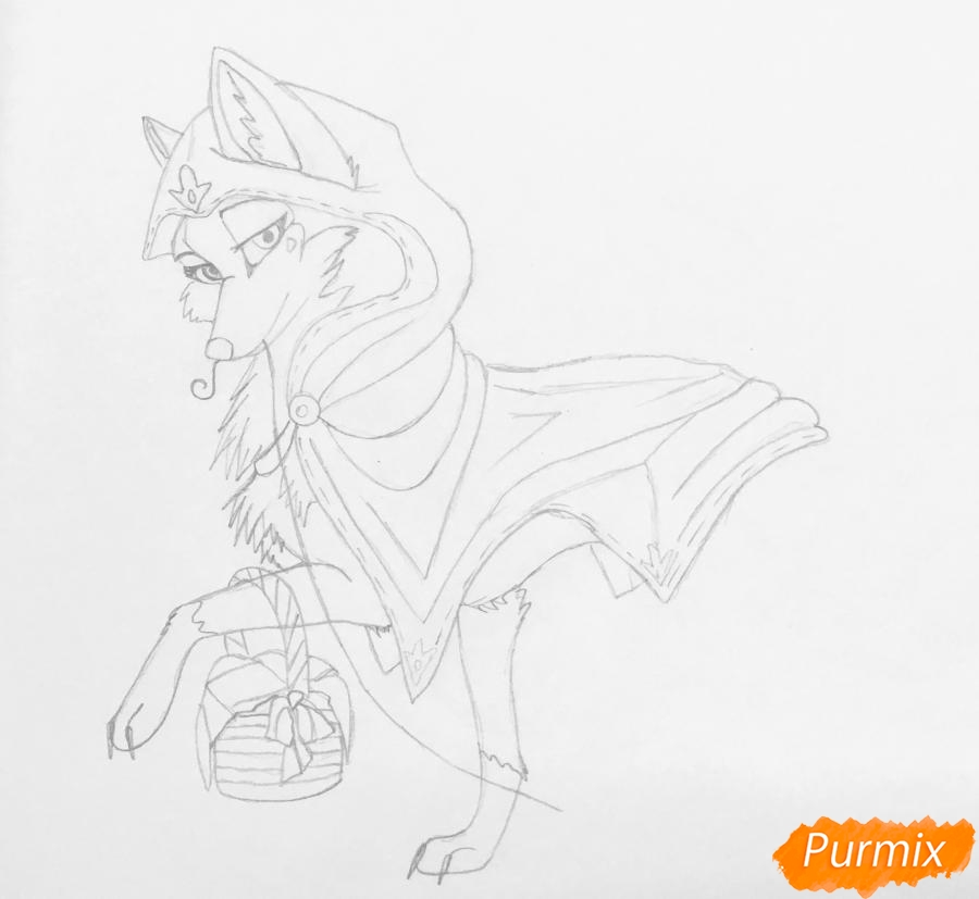 Рисуем аниме волчицу с игрушкой в стиле красной шапочки - шаг 5