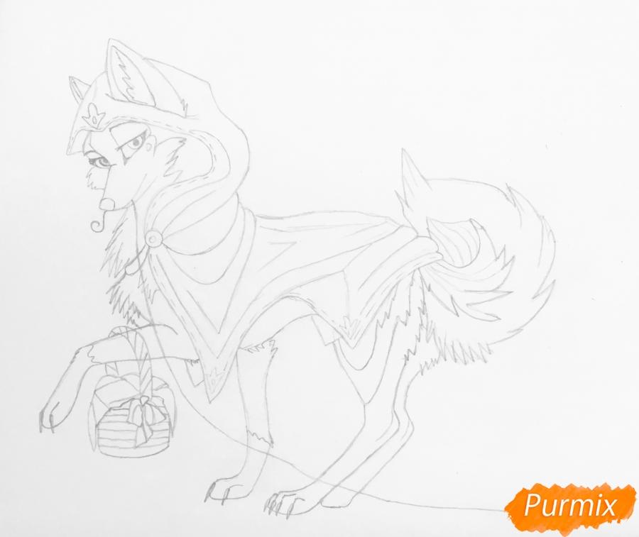 Рисуем аниме волчицу с игрушкой в стиле красной шапочки - шаг 6