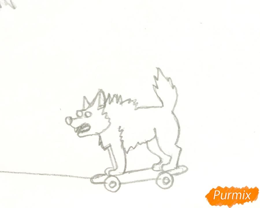Рисуем аниме волчицу с игрушкой в стиле красной шапочки - шаг 7