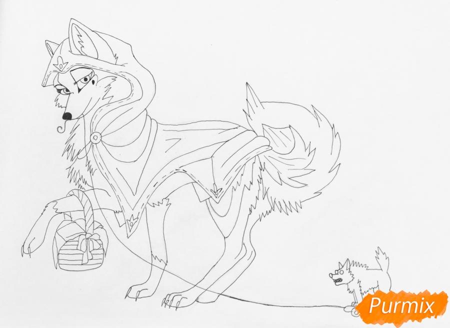 Рисуем аниме волчицу с игрушкой в стиле красной шапочки - шаг 8
