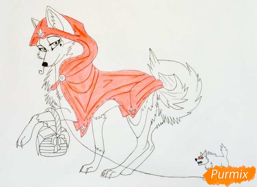 Рисуем аниме волчицу с игрушкой в стиле красной шапочки - шаг 9