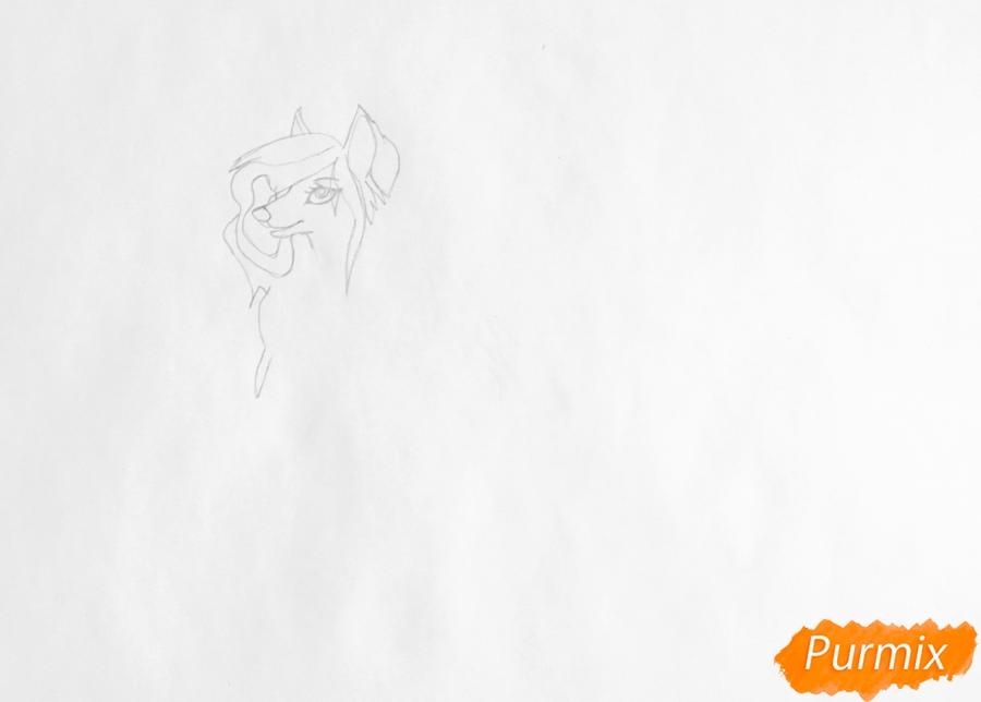 Рисуем аниме волчицу в полный рост - шаг 2