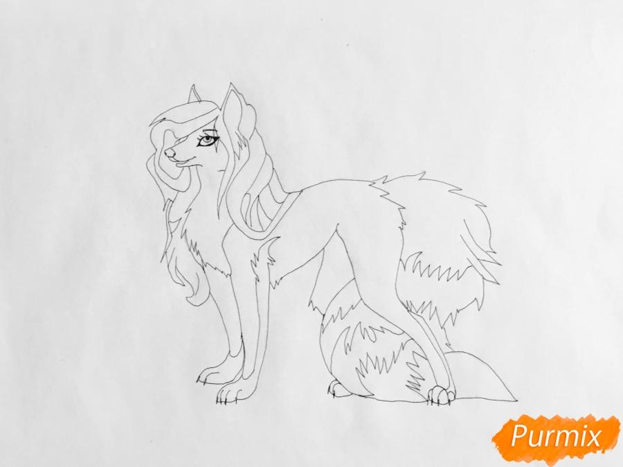 Рисуем аниме волчицу в полный рост - шаг 6