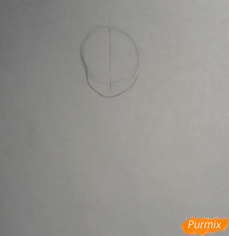 Рисуем анимешную девочку с плюшевым кроликом в руках карандашами - шаг 1