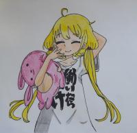 Рисунок анимешную девочку с плюшевым кроликом в руках