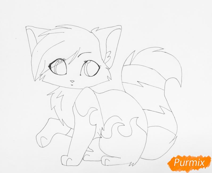 Рисуем бело чёрную аниме кошечку с голубыми глазками - шаг 7