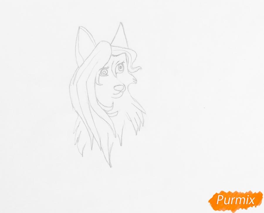 Рисуем белоснежную голубоглазую аниме волчицу с амулетом - шаг 3