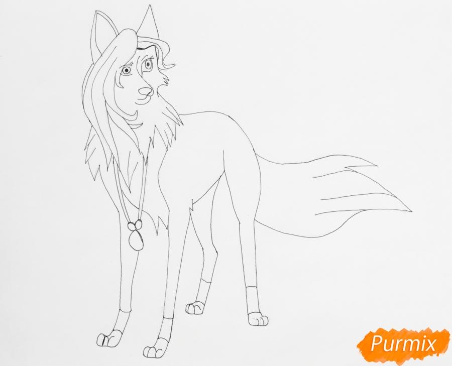 Рисуем белоснежную голубоглазую аниме волчицу с амулетом - шаг 7