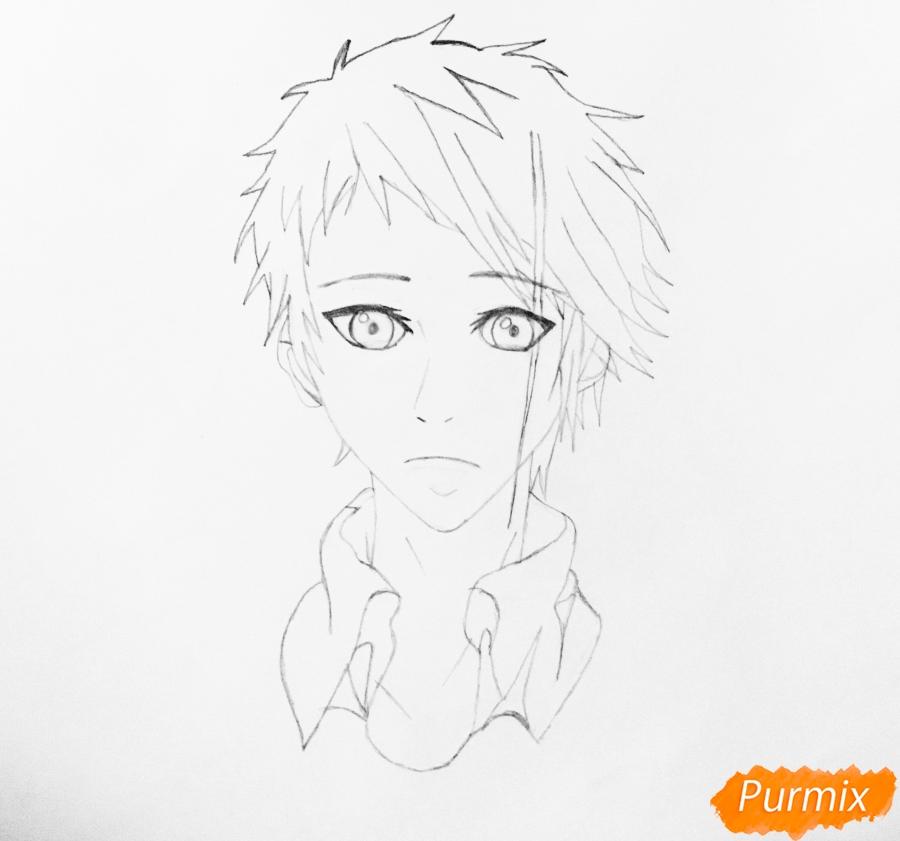 Рисуем портрет Бенедикта Блю из аниме Вайолетт Эвергарден - шаг 4