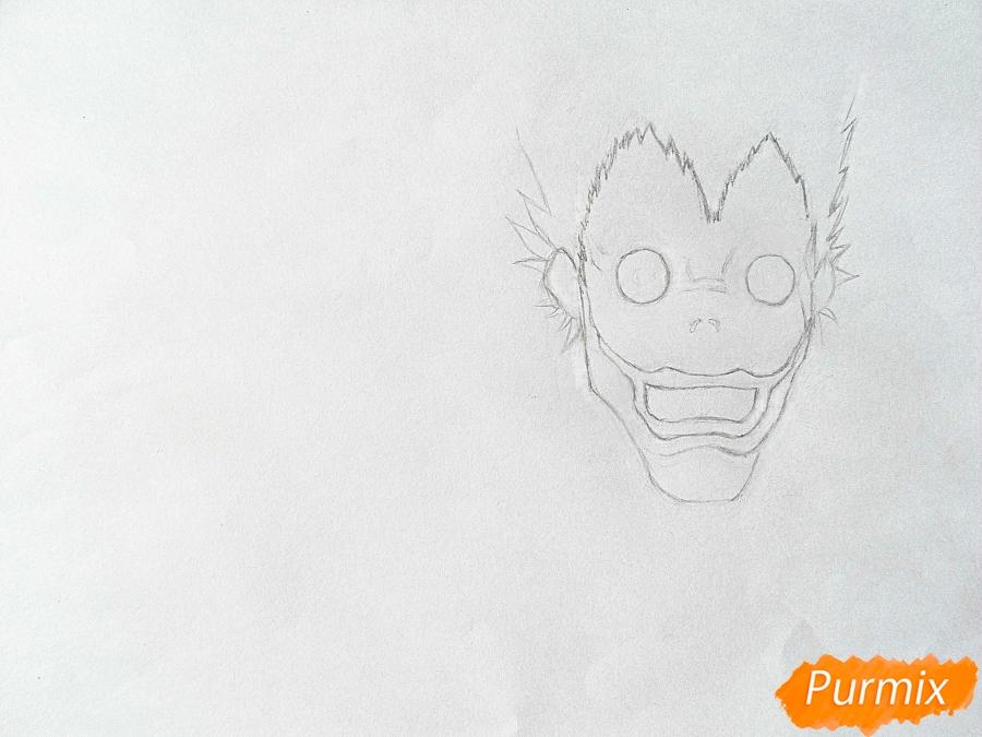 Рисуем бога смерти Рюка из аниме Тетрадь смерти карандашами - шаг 1