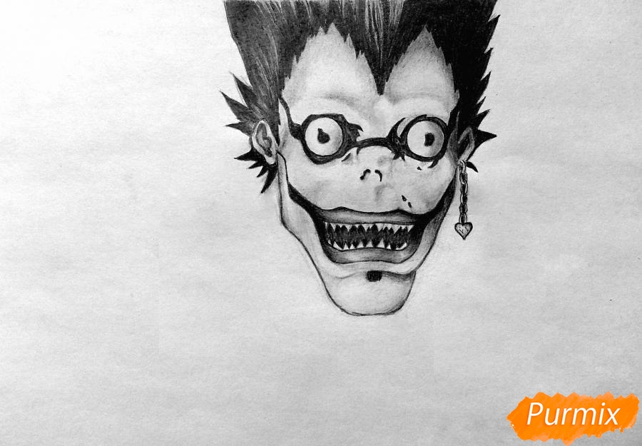 Рисуем бога смерти Рюка из аниме Тетрадь смерти карандашами - шаг 3