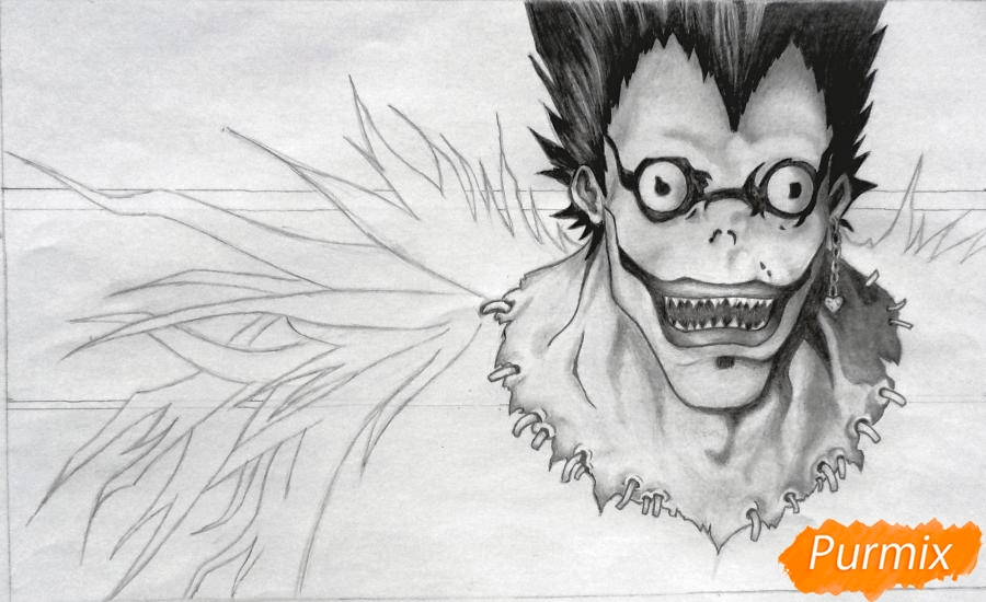 Рисуем бога смерти Рюка из аниме Тетрадь смерти карандашами - шаг 6