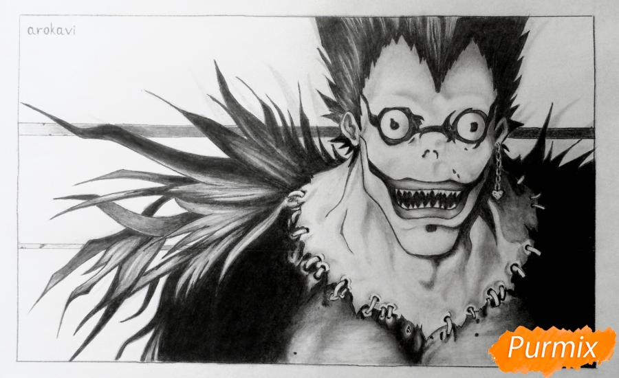 Как нарисовать бога смерти Рюка из аниме Тетрадь смерти карандашами поэтапно