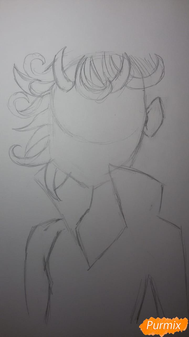 Рисуем Бурю из аниме Ванпанчмен - шаг 5