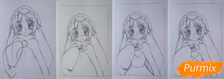 Рисуем Чамо Россо из аниме Герои шести цветов - фото 4