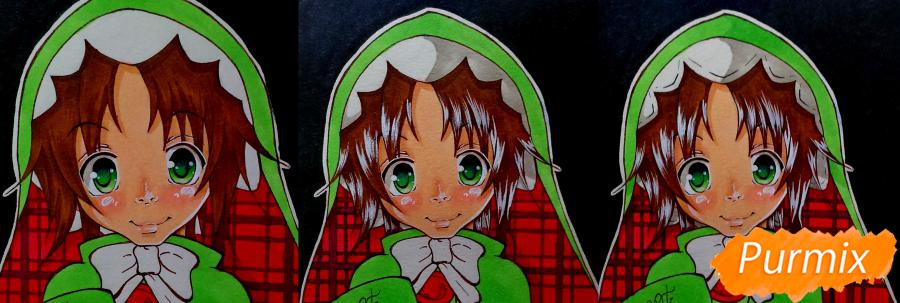 Рисуем Чамо Россо из аниме Герои шести цветов - фото 9