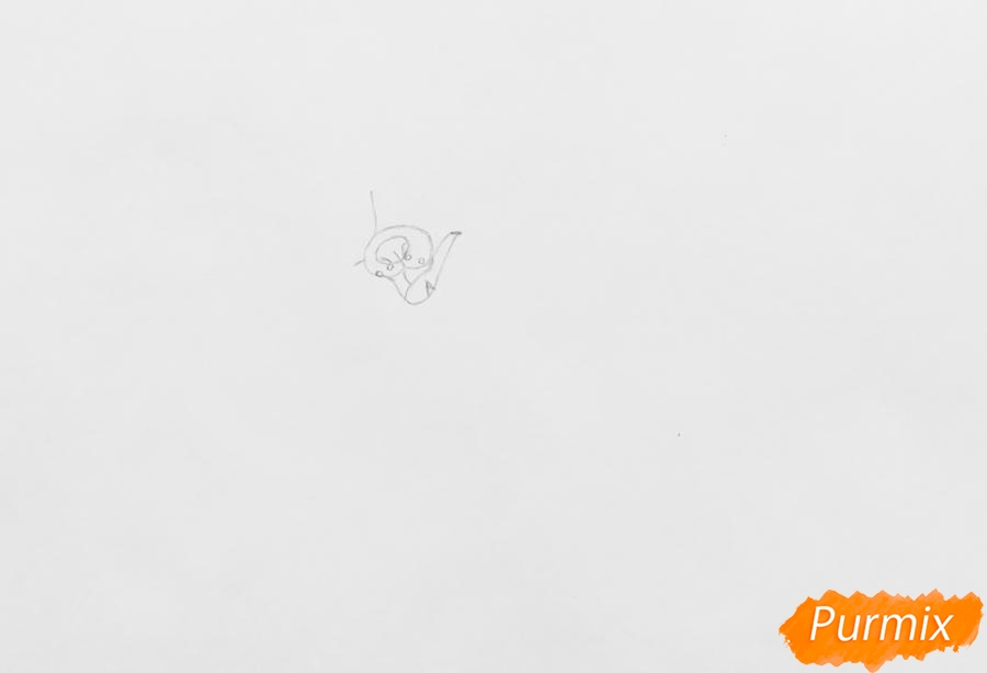 Рисуем чёрно белую аниме собаку - шаг 1