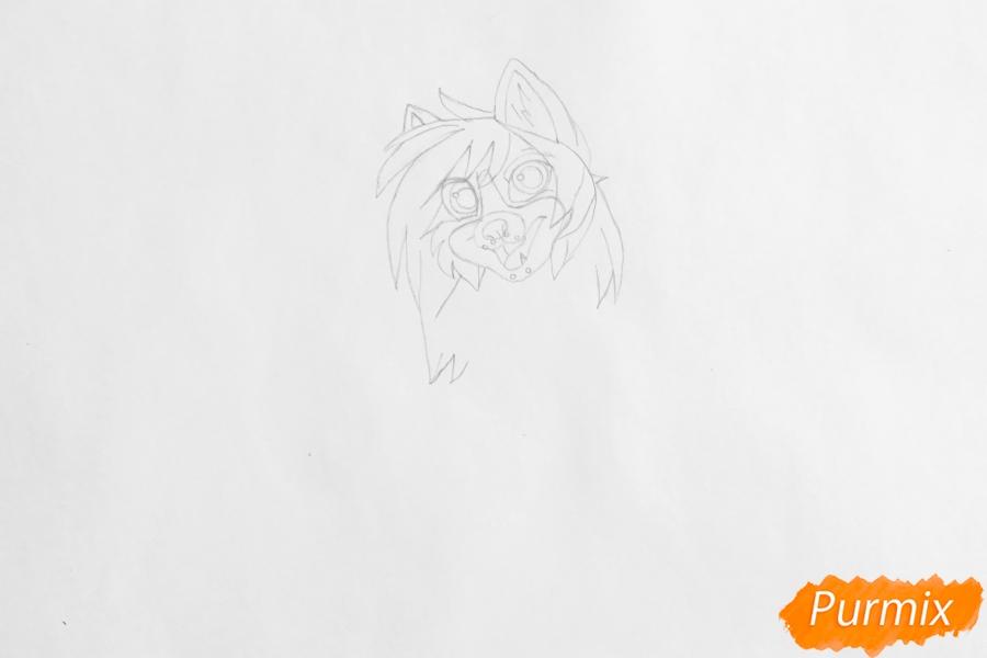 Рисуем чёрно белую аниме собаку - шаг 3