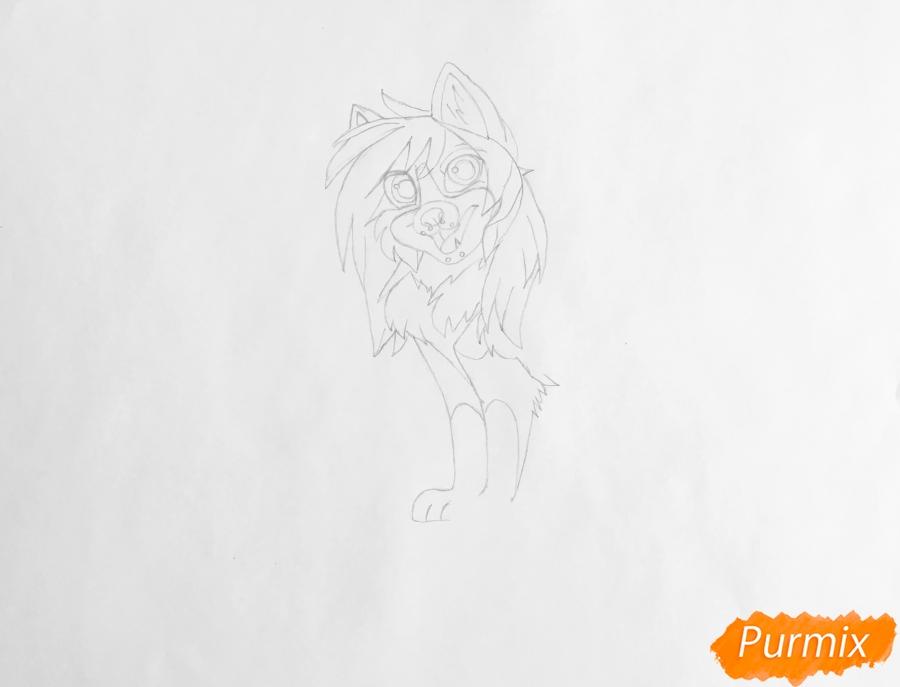 Рисуем чёрно белую аниме собаку - шаг 4