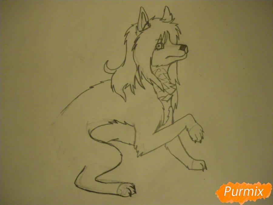 Рисуем чёрно-белую волчицу в стиле аниме - шаг 6