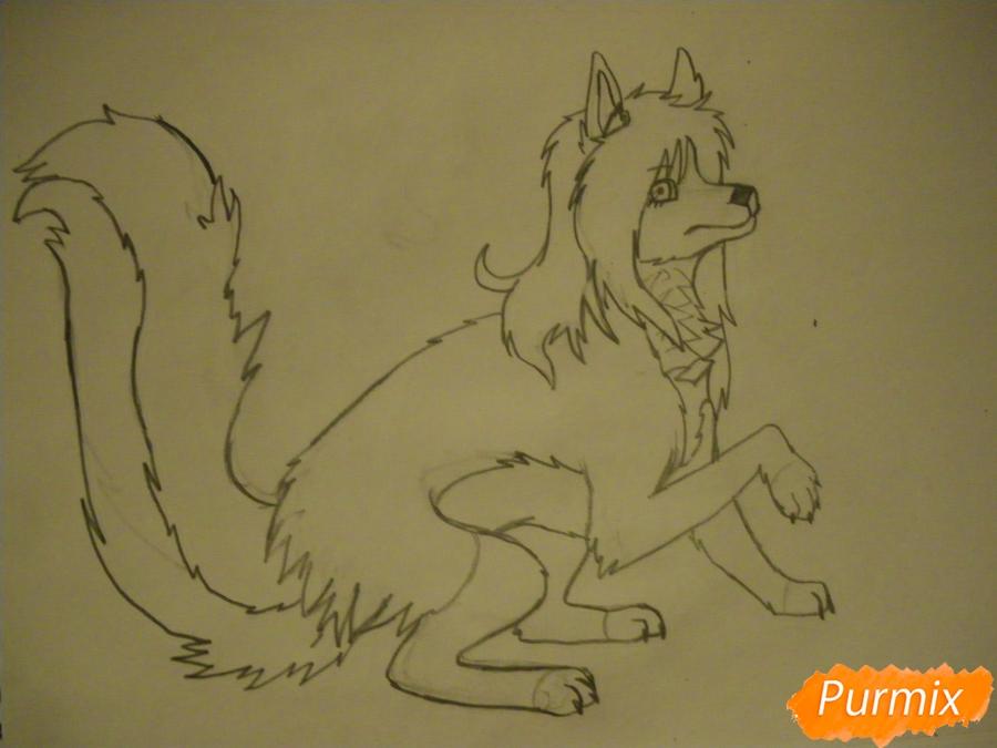 Рисуем чёрно-белую волчицу в стиле аниме - шаг 8