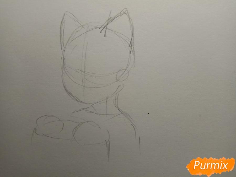 Рисуем Чеширского кота из аниме Сердце пандоры - шаг 1
