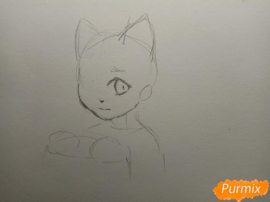 Рисуем Чеширского кота из аниме Сердце пандоры - шаг 3
