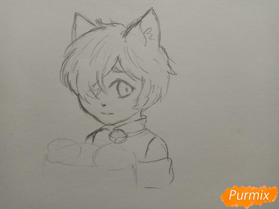 Рисуем Чеширского кота из аниме Сердце пандоры - шаг 5