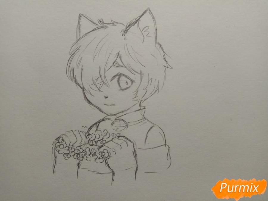Рисуем Чеширского кота из аниме Сердце пандоры - шаг 6