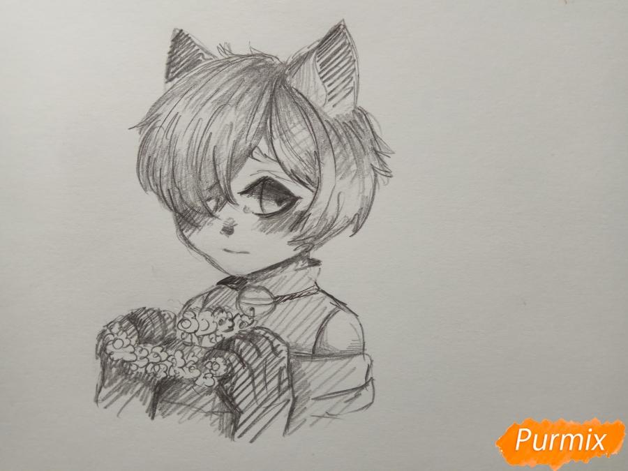 Как нарисовать Чеширского кота из аниме Сердце пандоры карандашом поэтапно