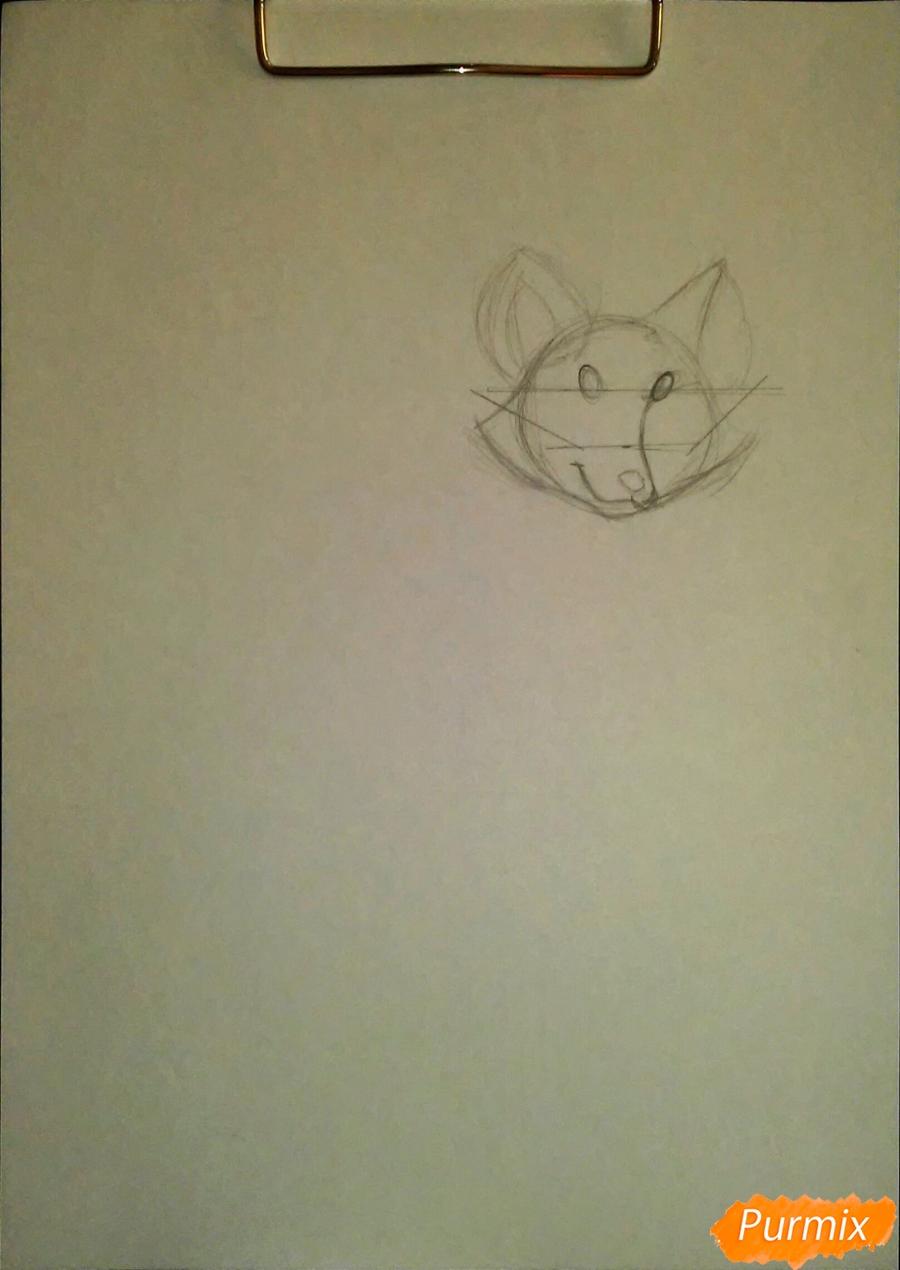 Рисуем cобачку c веером в стиле аниме - шаг 1