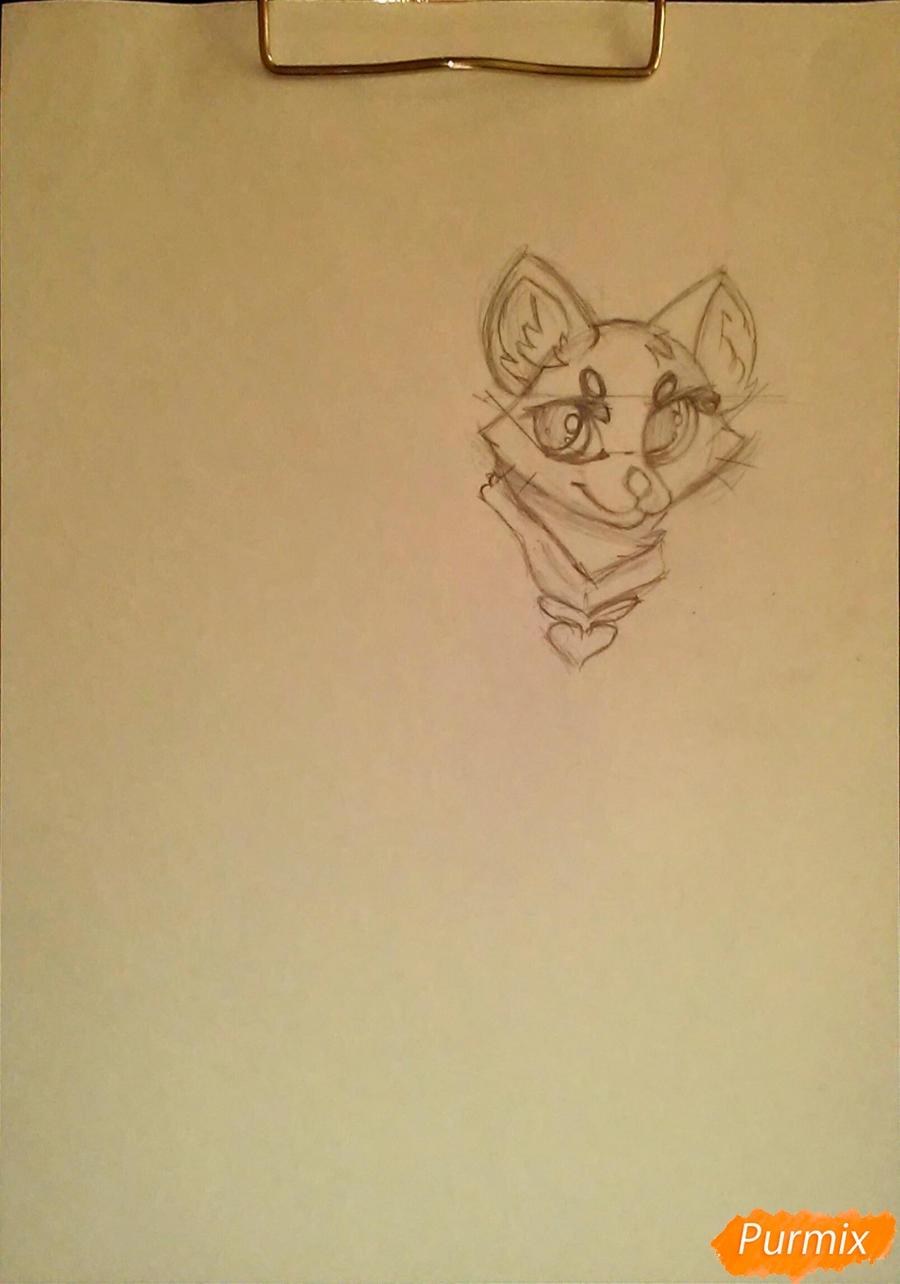 Рисуем cобачку c веером в стиле аниме - фото 3