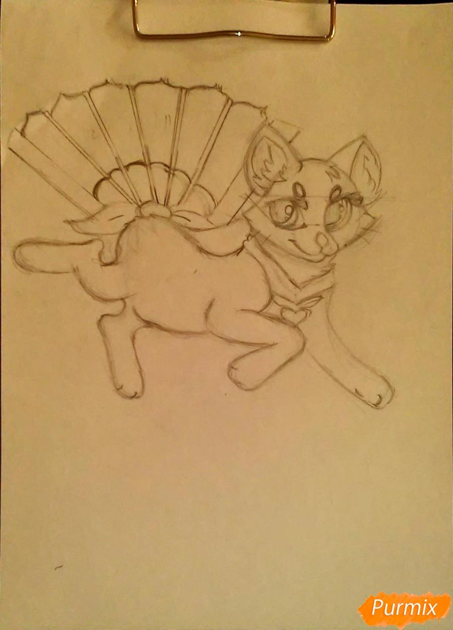 Рисуем cобачку c веером в стиле аниме - фото 6