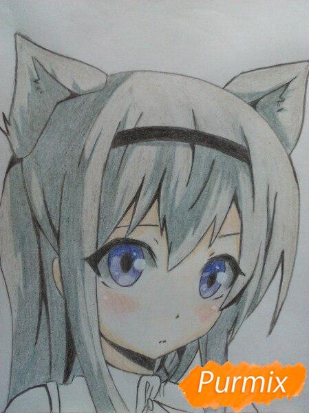 Рисуем  цветными карандашами милую аниме девочку с ушками - шаг 11