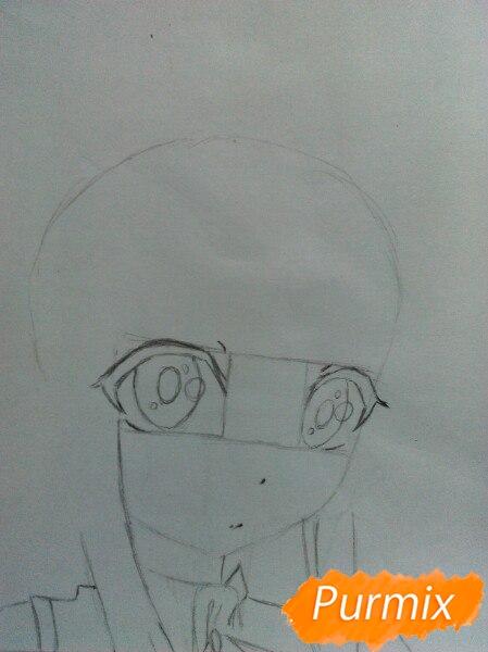 Рисуем  цветными карандашами милую аниме девочку с ушками - шаг 3