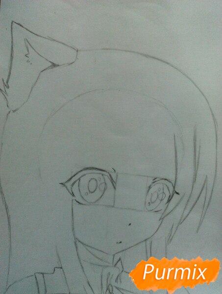 Рисуем  цветными карандашами милую аниме девочку с ушками - шаг 4