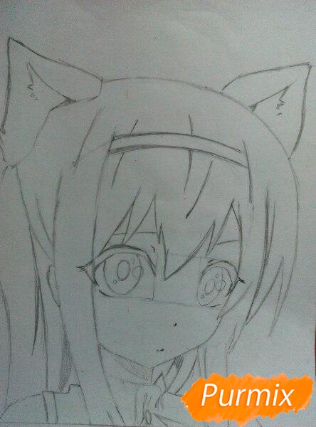 Рисуем  цветными карандашами милую аниме девочку с ушками - шаг 6