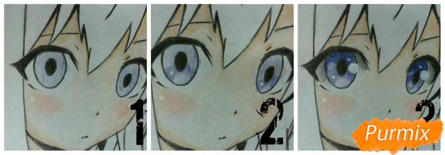 Рисуем  цветными карандашами милую аниме девочку с ушками - шаг 9